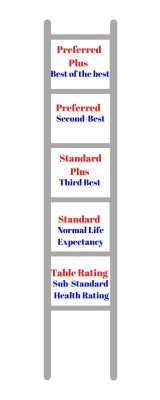 Represent the scale of life insurance health ratings